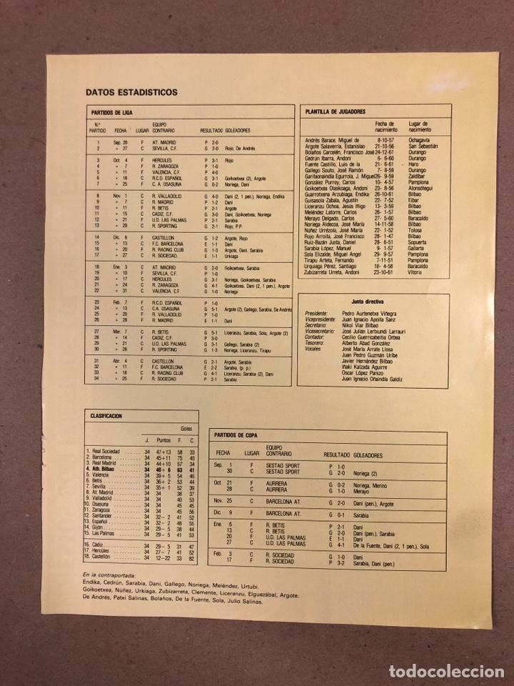 Coleccionismo deportivo: ATHLETIC CLUB DE BILBAO. POSTER CAMPEONES DE LA LIGA 1982/83. - Foto 2 - 178360676