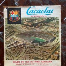 Coleccionismo deportivo: CARTEL FUTBOL CACAOLAT C.F. BARCELONA ESTRELLA ROJA DE BELGRADO COPA DE FERIAS 1962. Lote 178751692