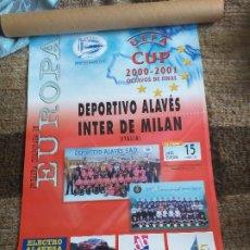 Coleccionismo deportivo: DEPORTIVO ALAVES: CARTEL PARTIDO DE OCTAVOS DE FINAL DE COPA DE LA UEFA 2001. Lote 182043123
