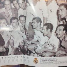 Coleccionismo deportivo: CARTEL RECUERDO DEL REAL MADRID 1956 CAMPEÓN DE EUROPA POR PRIMERA VEZ. Lote 183933516