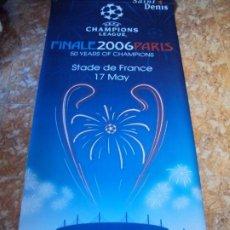 Coleccionismo deportivo: (F-191180)ESTANDARTE DE LONA FC BARCELONA 2006 FINAL CHAMPIONS PARIS - SE PONIAN EL LAS FAROLAS. Lote 184523135