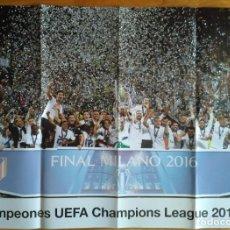 Coleccionismo deportivo: GRAN CARTEL DE LA FINAL MILANO 2016 CAMPEONES UEFA CHAMPIONS LEAGUE. Lote 187494128