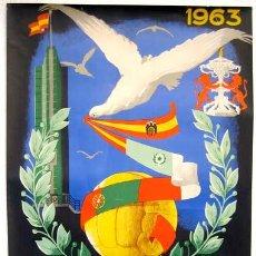 Coleccionismo deportivo: CARTEL FUTBOL TROFEO CARRANZA 1963 CADIZ, ORIGINAL , RB. Lote 190800303