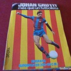 Coleccionismo deportivo: (LLL)SUPERPOSTER( 100 X 65 CM) JOHAN CRUYFF Y SU BIOGRAFIA(1975)-FOTOS. Lote 192698287