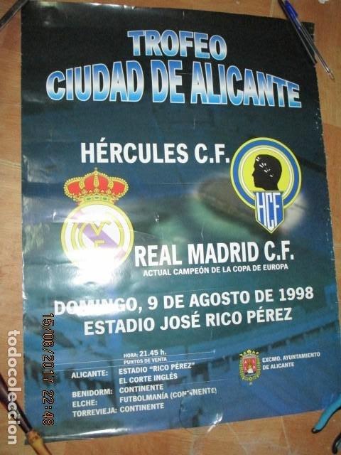TROFEO CIUDAD DE ALICANTE HERCULES REAL MADRID DE CARTEL QUE SE EXPUSO EN CONFITERIA ALICANTE (Coleccionismo Deportivo - Carteles de Fútbol)