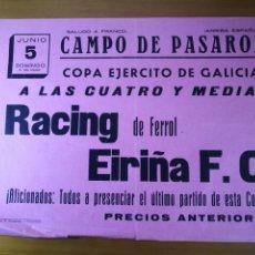 Coleccionismo deportivo: CARTEL FÚTBOL AÑOS 30 COPA EJÉRCITO - RACING FERROL VS EIRIÑA FC. Lote 194385222