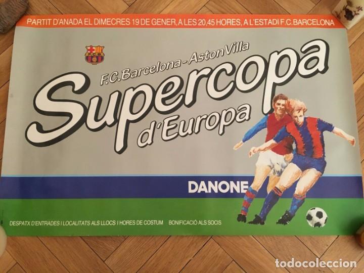CARTEL POSTER OFICIAL ORIGINAL FINAL UEFA SUPERCOPA EUROPA BARCELONA ASTON VILLA 1982 1983 NOU CAMP (Coleccionismo Deportivo - Carteles de Fútbol)