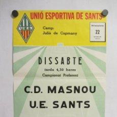 Coleccionismo deportivo: UNIÓ ESPORTIVA SANTS - CD MASNOU. CARTEL PARTIDO DE FÚTBOL CATALÁN 1983. PUBLICIDAD CERVEZA . Lote 196895335