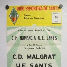 Coleccionismo deportivo: UNIÓ ESPORTIVA SANTS - CD MALGRAT. CARTEL PARTIDO DE FÚTBOL CATALÁN 1983. PUBLICIDAD CERVEZA . Lote 196896671