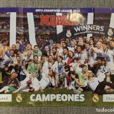 Coleccionismo deportivo: POSTER REAL MADRID 80*60 CHAMPIONS DECIMA 2014 MARCA. Lote 197489213