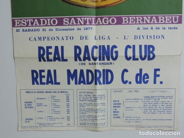 Coleccionismo deportivo: CARTEL ORIGINAL DEL Real Madrid Club de Futbol. 75 aniversario. Real Racing Club - Real Madrid. año - Foto 3 - 197948036