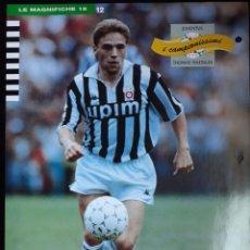 Coleccionismo deportivo: COVER JUVENTUS CALCIO 1991 THOMAS HASSLER JULIO CESAR CAMPIONI & CAMPIONATO 90 91 MINI POSTER. Lote 199712005