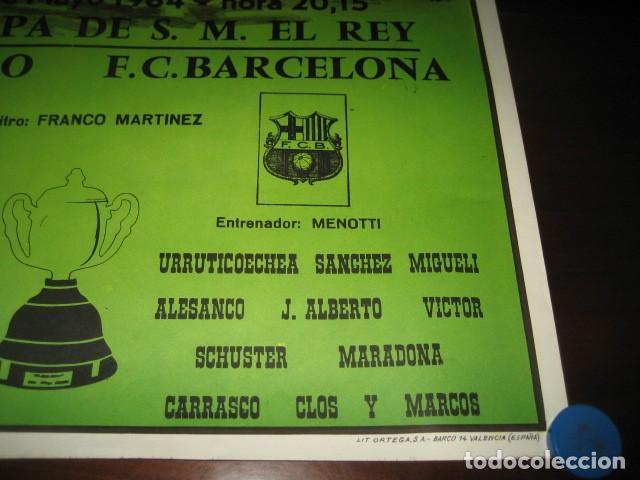 Coleccionismo deportivo: POSTER CARTEL FUTBOL FINAL COPA DEL REY 1984 ATH. BILBAO - F.C. BARCELONA. ESTADIO SANTIAGO BERNABEU - Foto 5 - 200026050