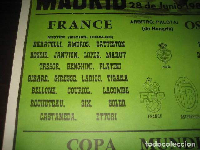 Coleccionismo deportivo: CARTEL POSTER FUTBOL MUNDIAL ESPAÑA 1982. ESTADIO V. CALDERON, MADRID. FRANCIA - AUSTRIA - Foto 5 - 200026386