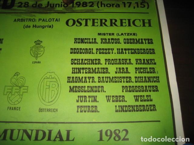 Coleccionismo deportivo: CARTEL POSTER FUTBOL MUNDIAL ESPAÑA 1982. ESTADIO V. CALDERON, MADRID. FRANCIA - AUSTRIA - Foto 6 - 200026386