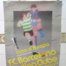 Coleccionismo deportivo: POSTER CARTEL COPA D´EUROPA 1986 BARCELONA-SPORTING DE PORTUGAL DANONE 62 X 40. Lote 201893048