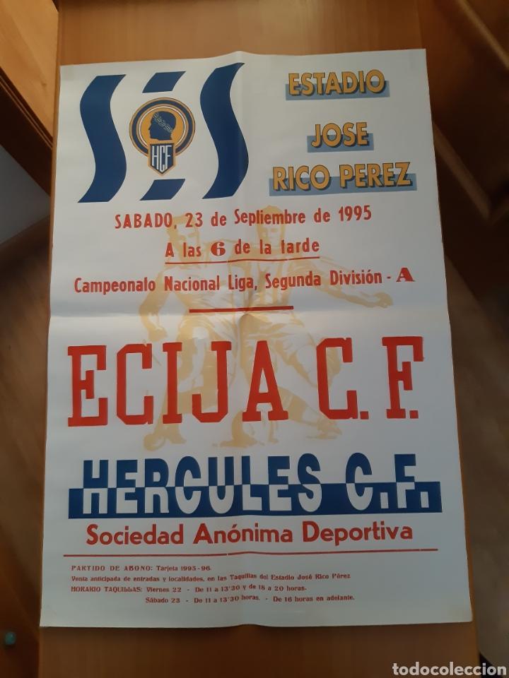 CARTEL POSTER FÚTBOL HÉRCULES ECIJA SEGUNDA DIVISIÓN 95 96 1995 1996 (Coleccionismo Deportivo - Carteles de Fútbol)