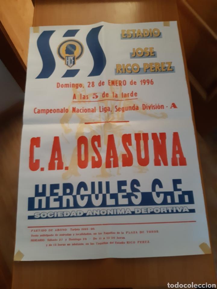 CARTEL PÓSTER FÚTBOL HÉRCULES OSASUNA SEGUNDA DIVISIÓN 95 96 1995 1996 (Coleccionismo Deportivo - Carteles de Fútbol)