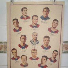 Coleccionismo deportivo: CARTEL BARÇA FC BARCELONA CAMPEON 1952-53 DIBUJADO POR JESUS BLASCO ORIGINAL BARÇA DE LAS CINC COPES. Lote 202860860