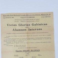 Coleccionismo deportivo: CARTEL GALA FUTBOLÍSTICA CLÍNICA MEDICA A. ( 1954 ) CAMPO R.C.D. ESPAÑOL. Lote 203114283