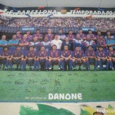 Coleccionismo deportivo: FC BARCELONA TEMPORADA 1991 1992 91/92 FIRMASIMPRESAS DE LOS JUGADORES DANONE 63 X 44 CMS. Lote 203477550