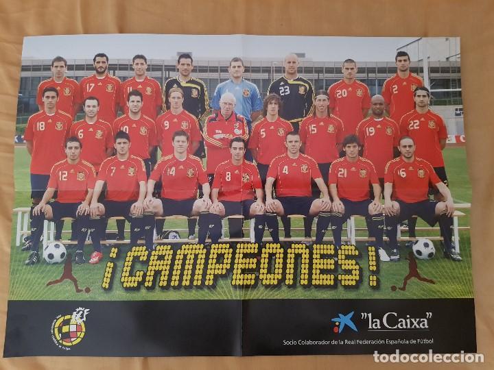 POSTER SELECCIÓN ESPAÑOLA MUNDIAL CAMPEONES - LA CAIXA (Coleccionismo Deportivo - Carteles de Fútbol)