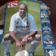 Coleccionismo deportivo: POSTER GRANDE 80 X 54 CM . APROX. RONALDO NAZARIO - HISTORIA REAL MADRID - VER FOTOS. Lote 205803511