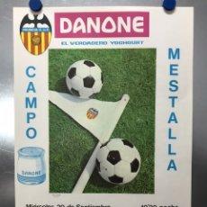 Coleccionismo deportivo: CARTEL FUTBOL VALENCIA C.F. - CRUSANDERS C.F. - RECOPA - 20 DE SEPTIEMBRE DE 1967 - DANONE. Lote 206301641
