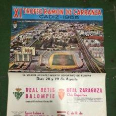 Coleccionismo deportivo: CARTEL XI TROFEO CARRANZA 1965 BETIS,BENFICA,ZARAGOZA Y FLAMENGO. Lote 208006167