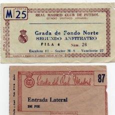 Coleccionismo deportivo: 3 ENTRADAS DE FÚTBOL DEL REAL MADRID,ANTIGUAS. Lote 214335302