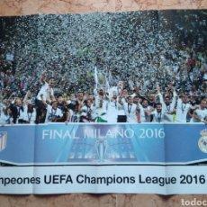 Coleccionismo deportivo: POSTER REAL MADRID FÚTBOL CAMPEONES UEFA CHAMPIONS LEAGUE 2016 MILAN. Lote 215823961