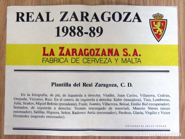 Coleccionismo deportivo: POSTER FUTBOL LIGA TEMPORADA 1988/1989 88/89 REAL ZARAGOZA FOTO OFICIAL PLANTILLA CERVEZA AMBAR - Foto 2 - 219708810