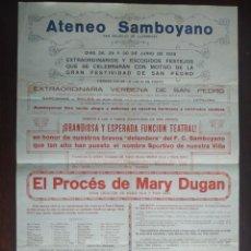 Coleccionismo deportivo: CARTEL ATENEU SANTBOIA 1929 FESTIVIDAD SAN PEDRO Y EN HONOR F C SANTBOIA EN SANT BOI DE LLOBREGAT. Lote 222875507