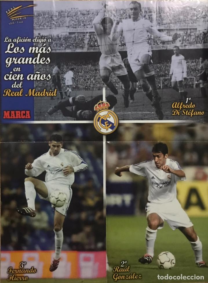 POSTER GIGANTE REAL MADRID - LOS MAS GRANDES EN CIEN AÑOS - MARCA 1 DI STEFANO 2 HIERRO 3 RAUL 2002 (Coleccionismo Deportivo - Carteles de Fútbol)