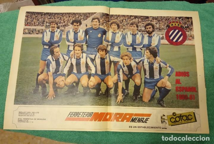 -POSTER DE FUTBOL DEL ESPAÑOL DE BARCELONA 1980-1981 FERRETERIA MORA (Coleccionismo Deportivo - Carteles de Fútbol)
