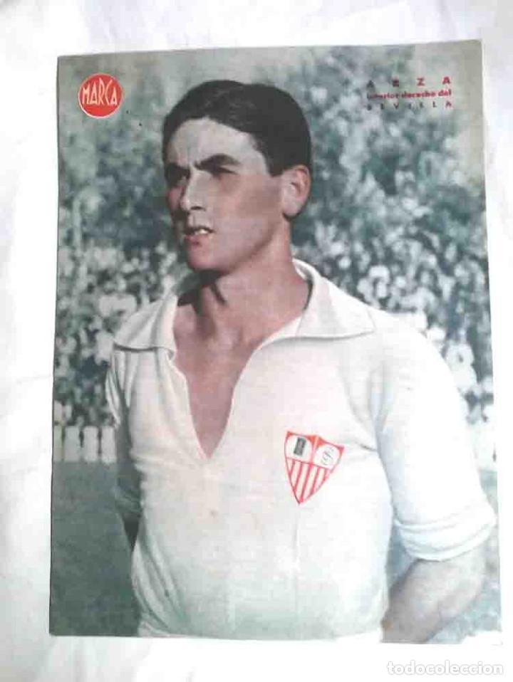 ARZA SEVILLA FC INTERIOR DERECHO, CARTEL POSTER DIARIO MARCA AÑOS 40. MED. 32 X 24 CM (Coleccionismo Deportivo - Carteles de Fútbol)