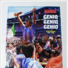 Coleccionismo deportivo: DOBLE PÓSTER DIEGO ARMANDO MARADONA DIARIO MARCA 27-11-2020 BARCELONA NAPOLES ARGENTINA MUNDIAL 1986. Lote 228205502