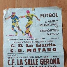 Coleccionismo deportivo: CARTEL FÚTBOL MATARÓ 1976 AÑOS 70 CAJA DE AHORROS LAYETANA CAMPEONATO DE CATALUNYA JUVENIL. Lote 228899660