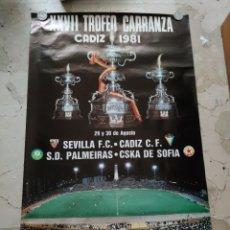 Coleccionismo deportivo: XXVII TROFEO CARRANZA , CADIZ 1.981, 97X59 CENTIMETROS.. Lote 229341845
