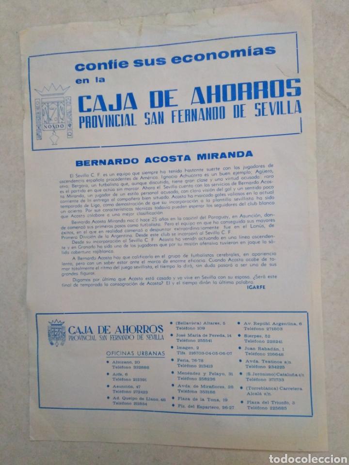 Coleccionismo deportivo: Acosta del sevilla C.F, cartel ( 32.50 X 22.50 ) - Foto 2 - 230931795