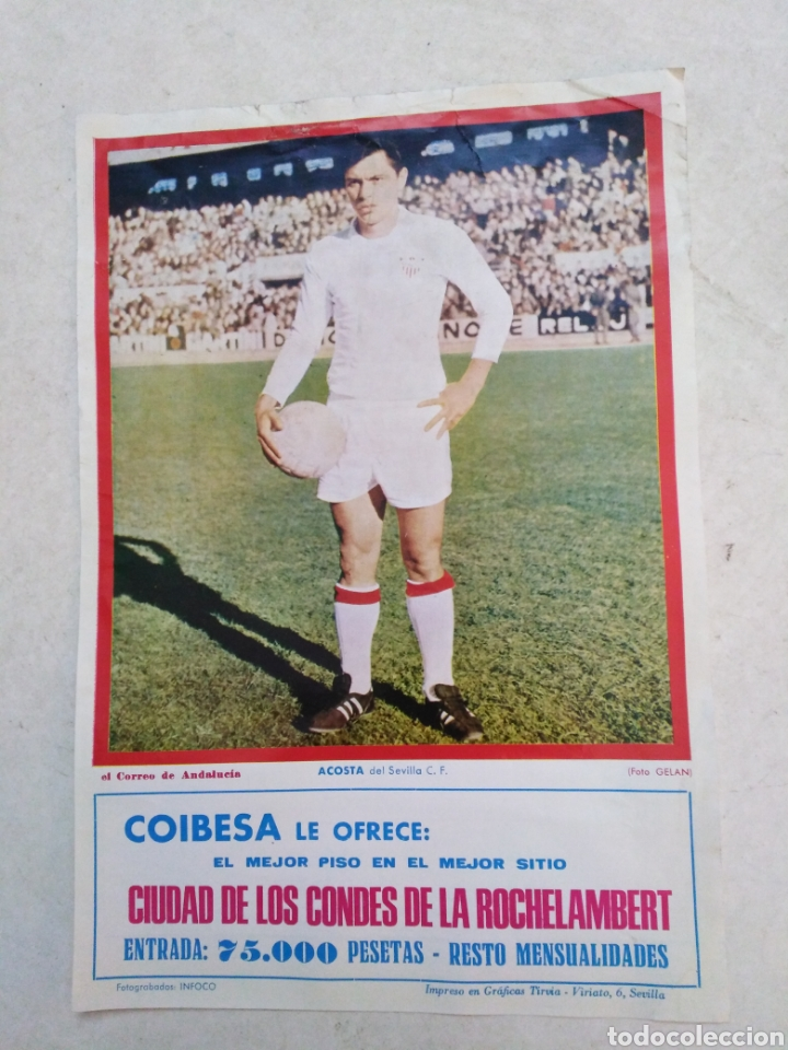 ACOSTA DEL SEVILLA C.F, CARTEL ( 32.50 X 22.50 ) (Coleccionismo Deportivo - Carteles de Fútbol)