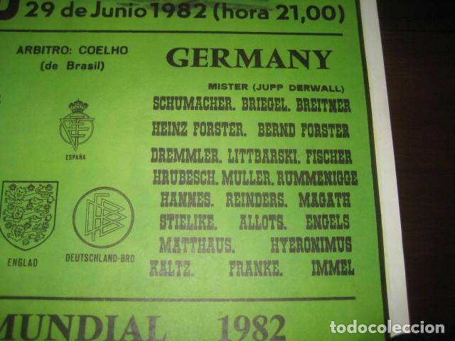 Coleccionismo deportivo: CARTEL POSTER FUTBOL MUNDIAL ESPAÑA 1982. INGLATERRA - ALEMANIA. ESTADIO SANTIAGO BERNABEU, MADRID - Foto 5 - 233034140