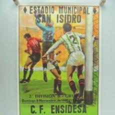 Coleccionismo deportivo: ANTIGUO CARTEL DE FUTBOL –C.F.ENSIDESA – R.S.D.ALCALA. Lote 234739315