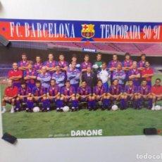 Coleccionismo deportivo: POSTER FUTBOL CLUB BARCELONA TEMPORADA 1990-1991 90-91 BARÇA DANONE CON LAS FIRMAS. Lote 241922360