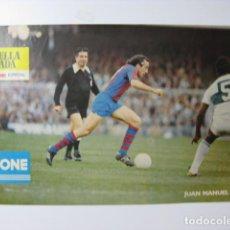 Coleccionismo deportivo: F C BARCELONA JUAN MANUEL ASENSI - POSTER CARTEL BARÇA FUTBOL DANONE ESTRELLA DORADA DAMM GENER 79. Lote 243468475
