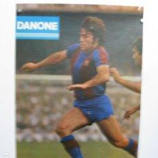 Coleccionismo deportivo: F C BARCELONA JUAN CARLOS HEREDIA - POSTER CARTEL BARÇA FUTBOL DANONE ESTRELLA DORADA DAMM OCT. 79. Lote 243472170
