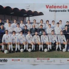 Coleccionismo deportivo: POSTER CARTEL VALENCIA CLUB FUTBOL TEMPORADA 1990 1991 ARTURO TUZON V. ESPARRAGO RV. Lote 244981555