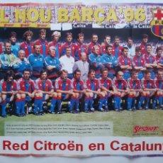 Coleccionismo deportivo: CARTEL FUTBOL CLUB BARCELONA 1996 EL NOU BARÇA 96 CRUYFF NUÑEZ GUARDIOLA RV. Lote 244984365