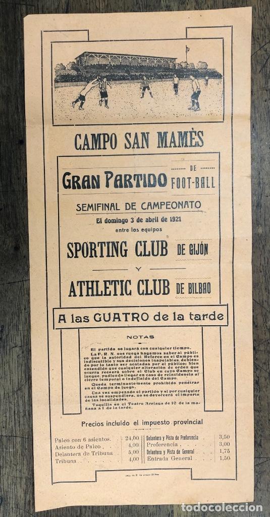 CARTEL CAMPO SAN MAMES. SEMIFINAL DE CAMPEONATO SPORTING GIJON Y ATHLETIC CLUB. 3 DE ABRIL DE 1921 (Coleccionismo Deportivo - Carteles de Fútbol)
