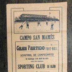 Coleccionismo deportivo: CARTEL CAMPO SAN MAMES. SEMIFINAL DE CAMPEONATO SPORTING GIJON Y ATHLETIC CLUB. 3 DE ABRIL DE 1921. Lote 254335075